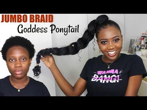 HOW TO JUMBO BRAID GODDESS PONYTAIL On Short Natural Hair