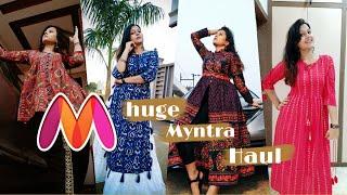 MYNTRA Designer Kurti Haul  Online Designer Kurtis  Huge MYNTRA FESTIVAL TRY ON HAUL  Surabhi