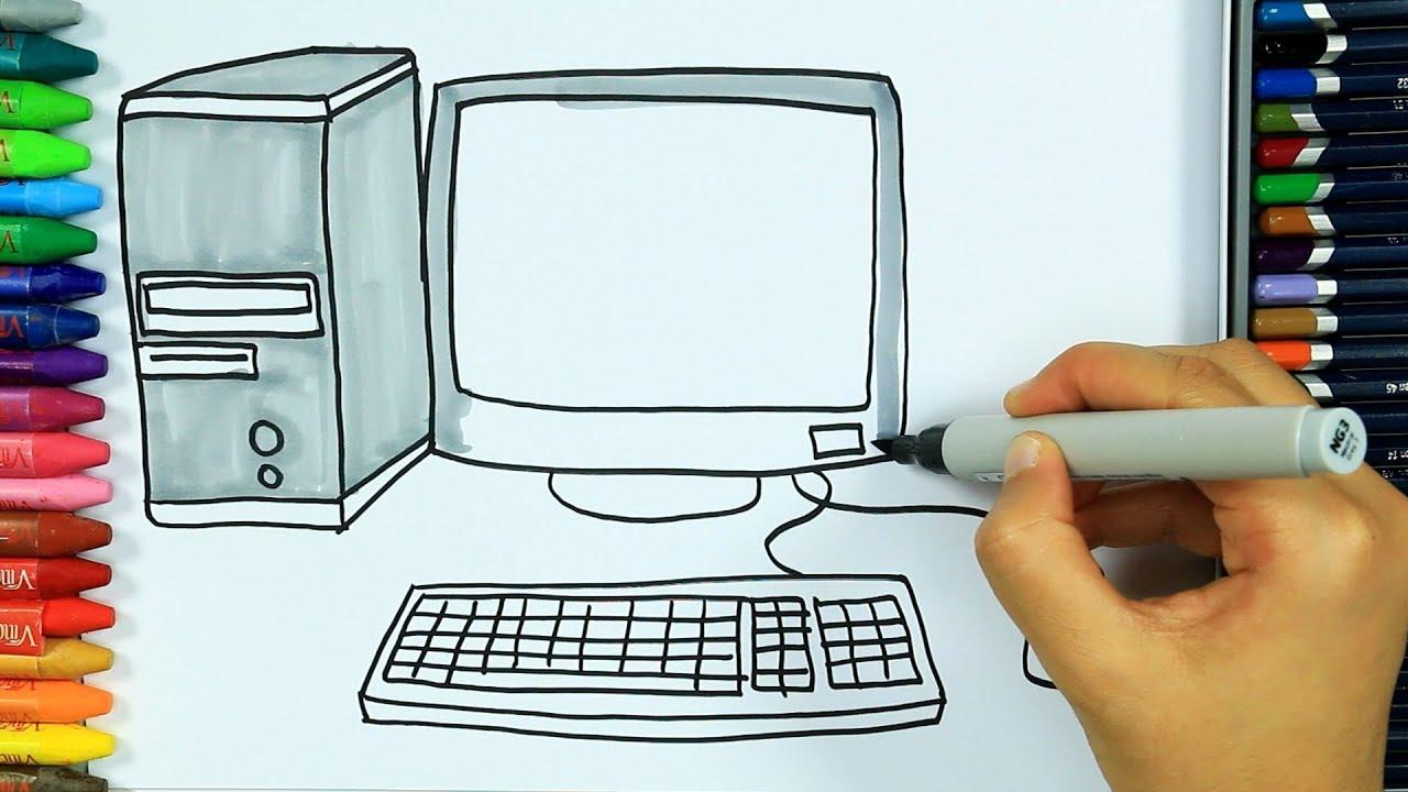 Dibujos para pintar y colorear 🖥 | Cómo dibujar computadora | Colores para niños | Family friend