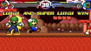 SMBZ Mario & Super Mario vs SMBZ Luigi & Super Luigi MUGEN Battle!!!