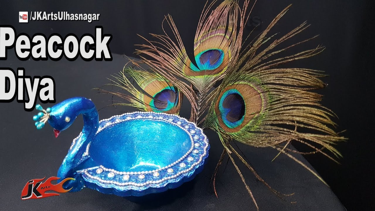 DIY Peacock Diya | Diwali Home Decoration Ideas | JK Arts 1294