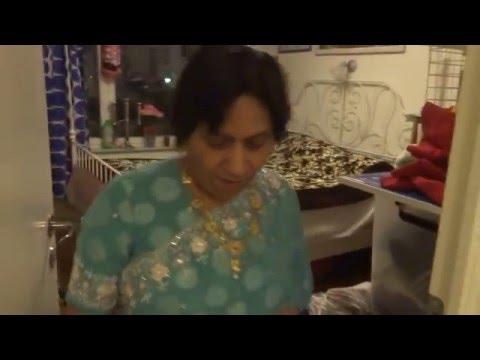 Aruna & Hari Sharma enjoying new Irani Carpet in the bedroom Frödingsgatan 12 Uppsala, Apr 28, 2016