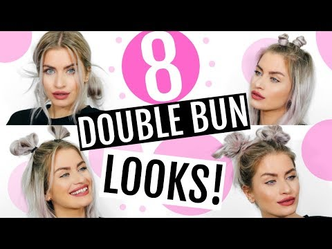 8 DOUBLE BUN HAIRSTYLES! SPACE BUNS! HEATLESS & EASY! | LYSSRYANN