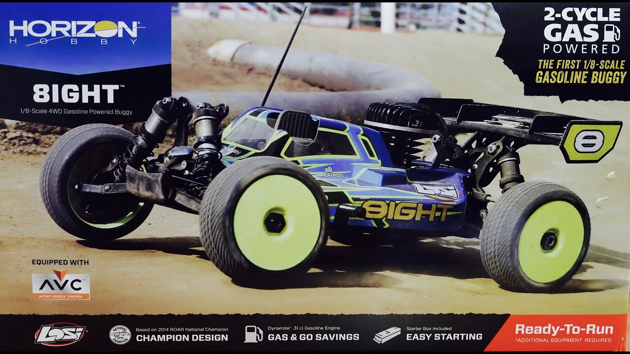 Losi 8ight 1 8 Gas Powered AWD AVC Buggy RTR Unboxing & First Look