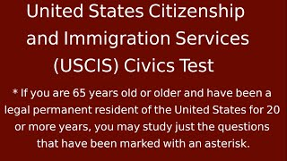 US Citizenship and Immigration Services 2014 Official (USCIS) Civics Test All 100 Questions Complete