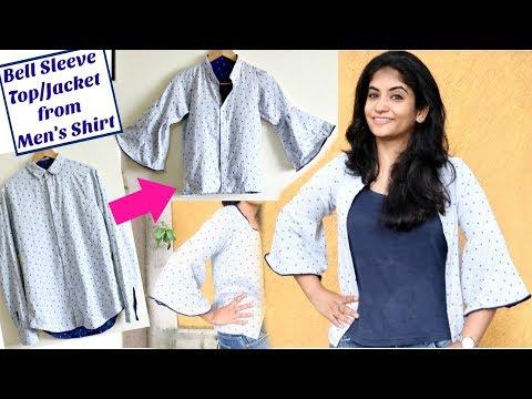 4b2835919b56e DIY  Convert Old Men s Shirt to a Bell Sleeve Top   Jacket