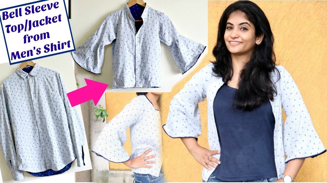 DIY: Convert Old Men's Shirt to a Bell Sleeve Top / Jacket ...