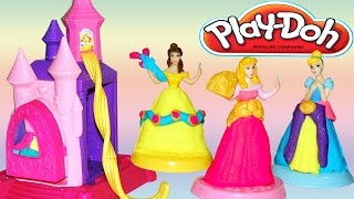 Play Doh Disney Prettiest Princess Castle Playset Belle Cinderella Aurora Playdough Design Dress