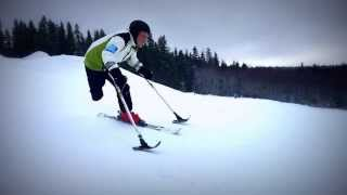 Old Guy @rightbay 2014 - Amputee Skiing Downhill: Superlite Outriggers, Strolz, Dynastar Skis