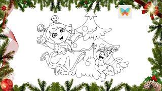 New Year [21 December] Как нарисовать Дашу и Башмачка с новогодней елочкой! [Даша Путешественница]