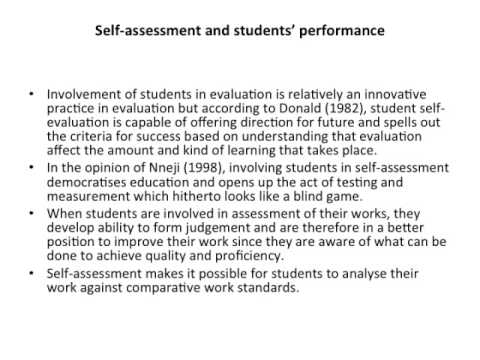 A Critical Analysis of Student\u0027s Self-Assessment and - YouTube