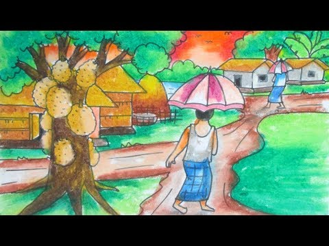 Easy Drawing For Kids On Summer Season Beach Scene Picnic