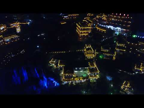 Night view with drone of Furong Town western Hunan province China