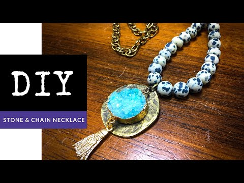How To Make A Beaded Gemstone & Chain Necklace With Pendant