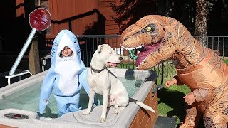 T-Rex SAVES Buster The Dog From Rat Man!