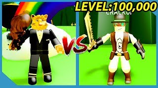DEFEATING THE LEVEL 100,000 BOSS IN ROBLOX SLAYING SIMULATOR thumbnail