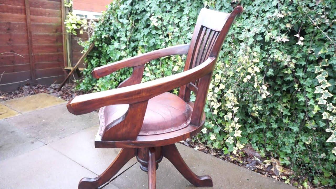 vintage antique mahogany office swivel captains desk chair youtube