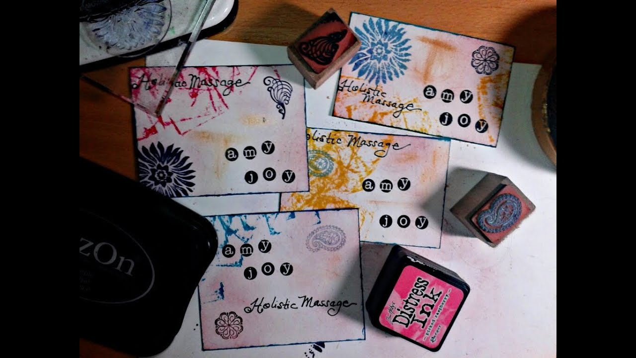 Diy business cards mixed media stamps youtube reheart Gallery