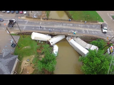 Extreme flood.  Salem Indiana's flash flood.  Drone.