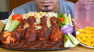 BAS ASMR - Eating Spicy Chicken & Egg Gravy, Kashmiri Pulao, Onion, Chili - Mukbang eating show