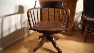 Antique Oak Captains Desk Chair Swivel & Height & Tilt Adjustable