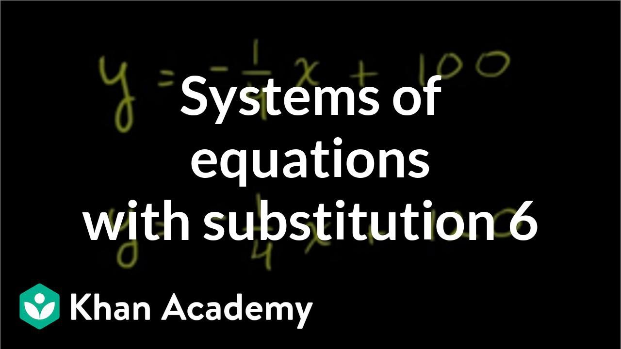 Systems of equations with substitution: y=-1/4x+100 & y=-1