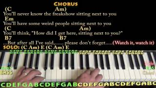 Heathens (twenty one pilots) Piano Lesson Chord Chart with On-Screen Lyrics