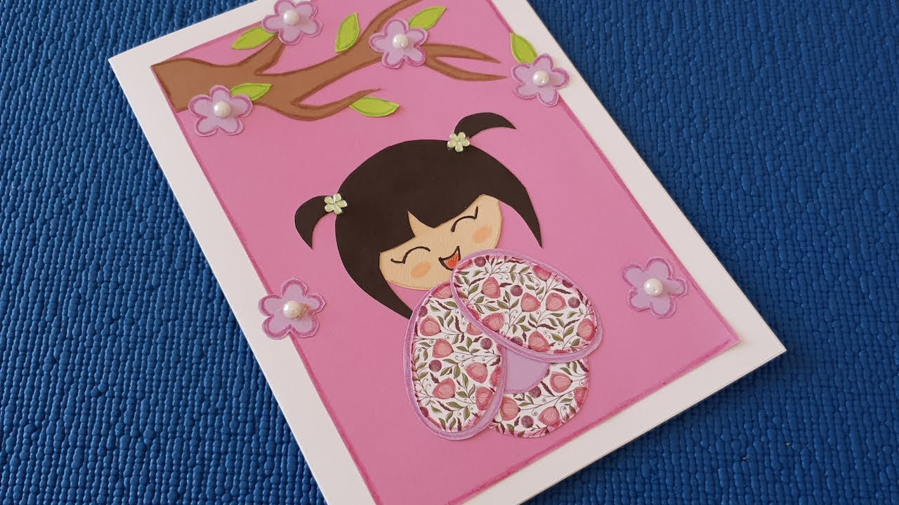 Greeting Card With Japanese Girl How To Make Birthday Cards At Home