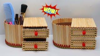 RAK MAKE UP Cantik dari Stik Es Krim ! Kreasi | Popsicle Stick Crafts | organizer ice cream stick