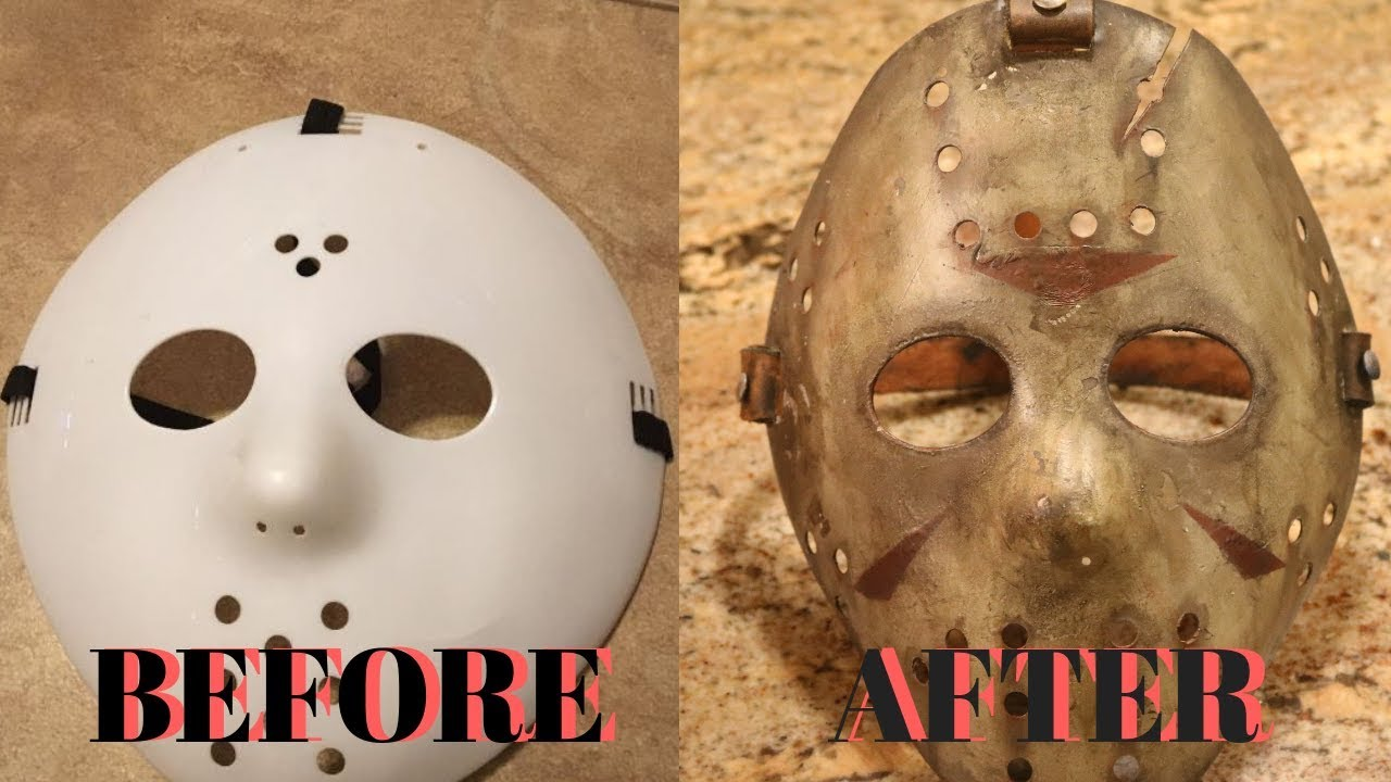 $1 Walmart Jason Mask Makeover- Jason Voorhees Mask DIY Tutorial Friday the 13th