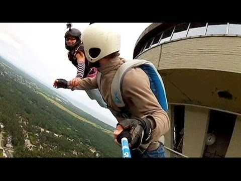 Base jumping from Estonia's TV tower in Tallinn - no comment