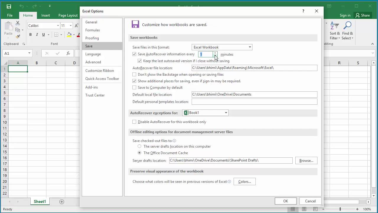 excel 2016 document recovery location