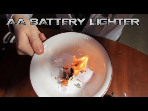 AA Battery + Gum Wrapper Lighter