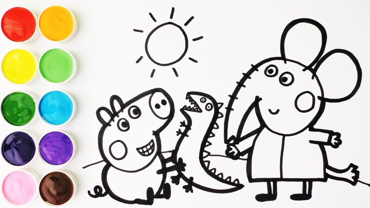 Peppa Pig Dibujar Y Colorear A George Pig Y Emily Elefante