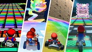 Evolution of Rainbow Road in Mario Kart (1992-2021)