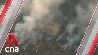 Aerial footage of Amazon rainforest fires