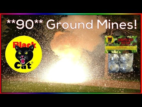 Black Cat Ground Mines Demo - 90 Mines At Once = Massive Fireball!