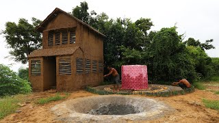 100 Days Build Mud House With Twin Aquarium For 10000 Small Catfish &  Searching Underground Water