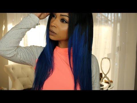 Ombre Blue Rock Star Hair   Feshfen Hair Black Blue Human Hair Bundles Review