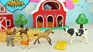FEEDING Farm Animals Horses and Cows | zoo toys in red barn ranch wild schleich