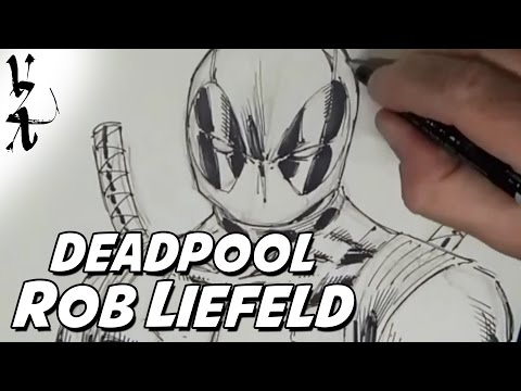 Rob Liefeld drawing Deadpool