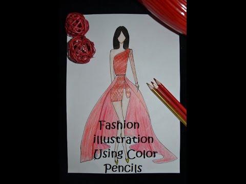 d6de96bf649 Fashion Illustration using color pencils | How to Sketch A Dress using Color  Pencils