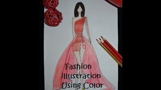 Fashion Illustration using color pencils | How to Sketch A Dress using Color Pencils