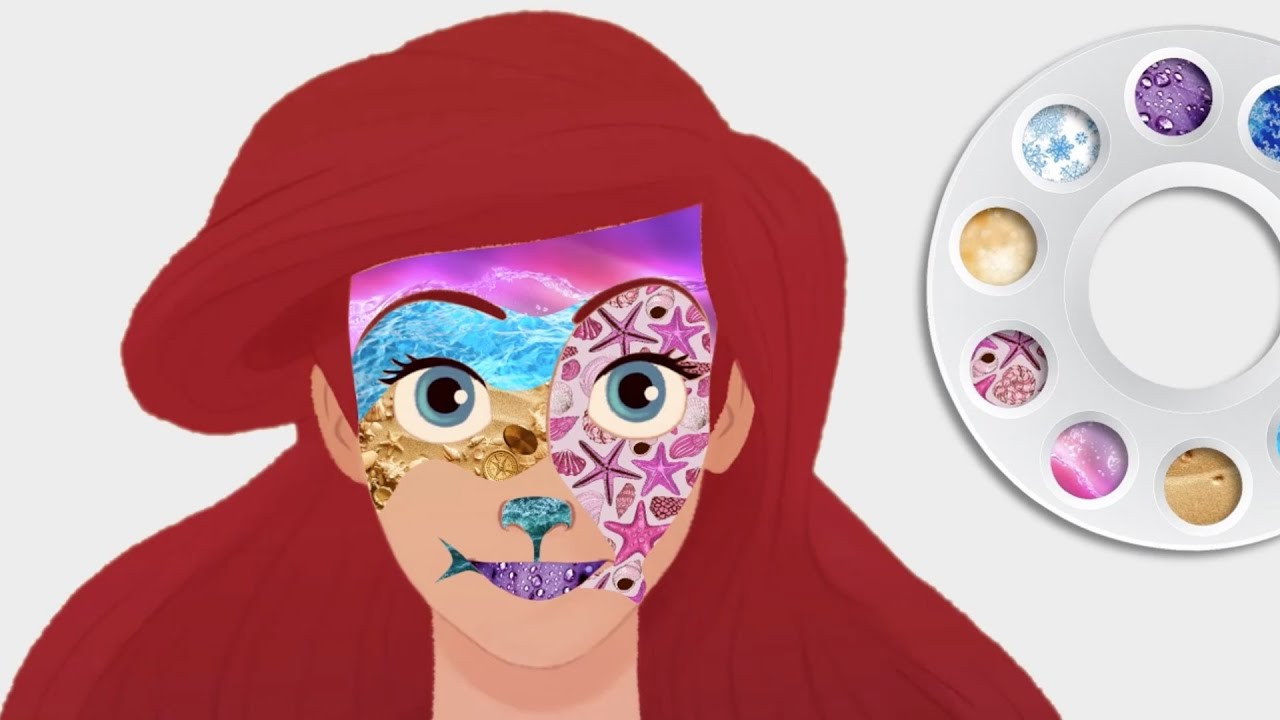 disney princess ariel the little mermaid face painting coloring