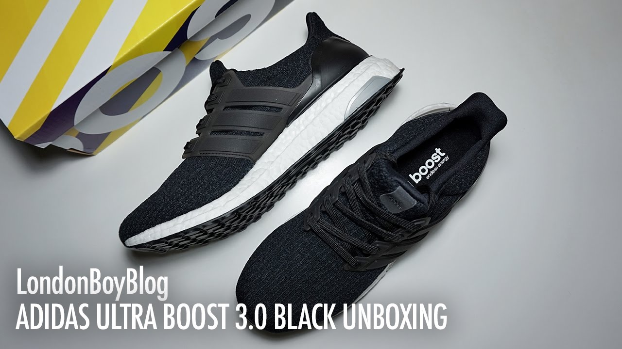 4b7cadfadf6 Adidas Ultra Boost 3.0 Black Unboxing - YouTube