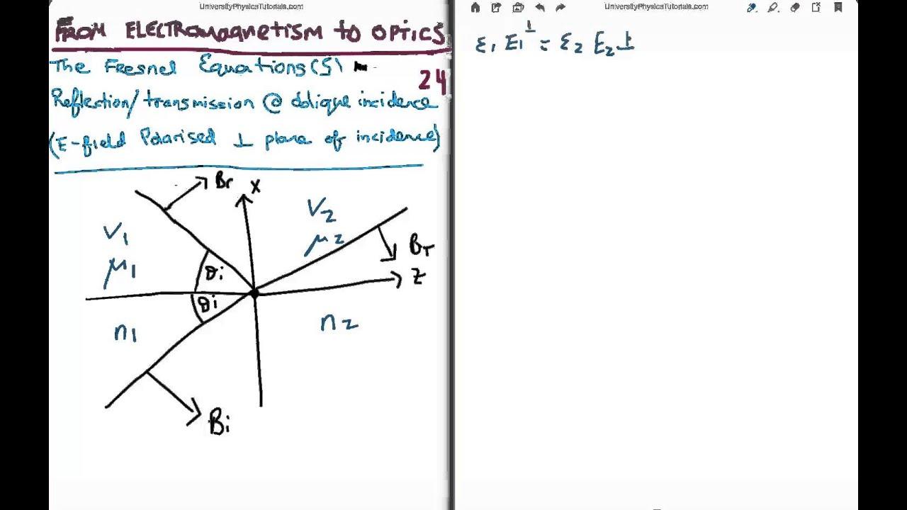 Em to optics 24 fresnel equations 22 youtube em to optics 24 fresnel equations 22 pooptronica Gallery