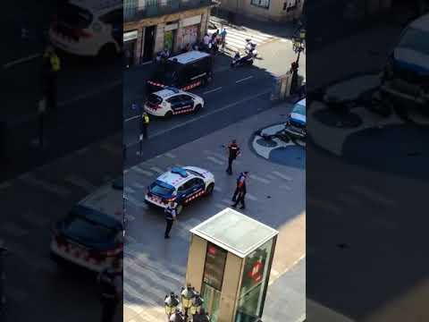 Atropello en Barcelona coches patrulla