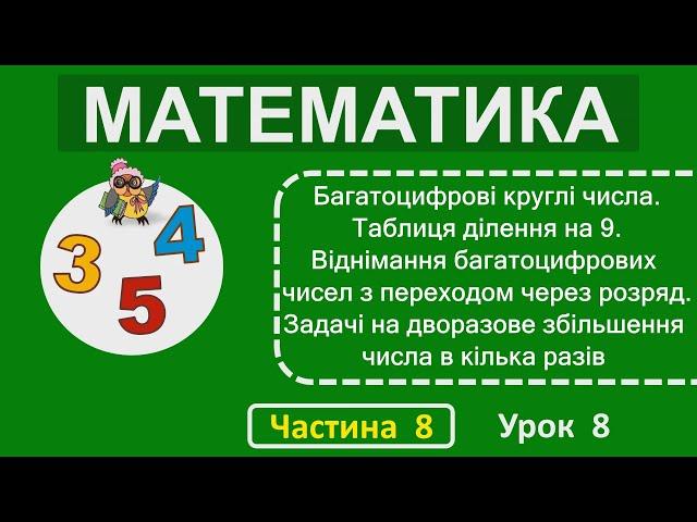 2 клас. Математика. Багатоцифрові круглі числа. Таблиця ділення на 9.