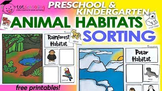 Animal Habitats Sorting - Free Printables By Totschooling