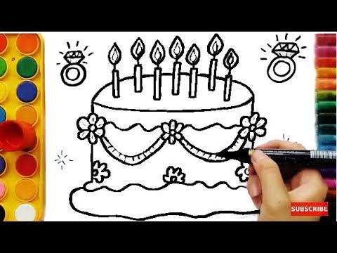 Learning Colors For Kids By Drawing Cake Coloring Pages Fruits Funny